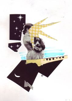 Surreal collage with a vintage girl and a dog