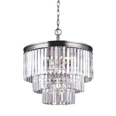 Sea Gull Lighting Carondelet 4-Light Antique Brushed Nickel Multi Tier Chandelier-3114004-965 - The Home Depot