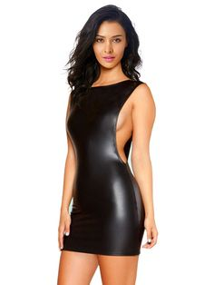 Kimring Women's Punk Black Faux Leather Clubwear Sleeveless Bodycon Mini Dress -- To view further for this item, visit the image link. (This is an affiliate link and I receive a commission for the sales)