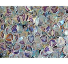50pcs Rose Petal 7x8mm Pressed Czech Glass Beads Crystal AB