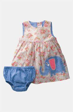 Mini Boden Print Appliqué Dress (Infant)