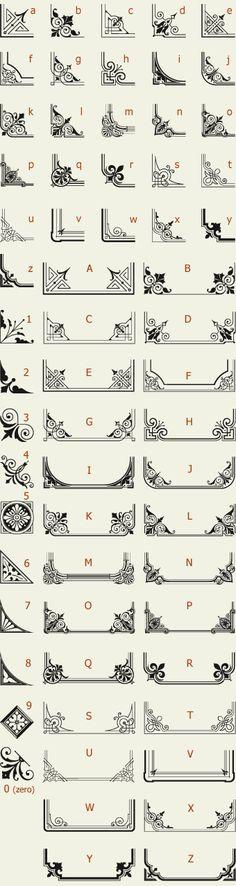 Letterhead Fonts / LHF Corner Specimens / Scrolls and Borders