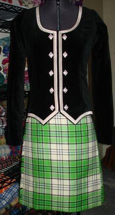 Kilt with black jacket (not on dancer) #macrae #green #tartan