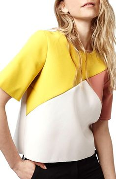 Topshop Asymmetrical Colorblock Top available at #Nordstrom
