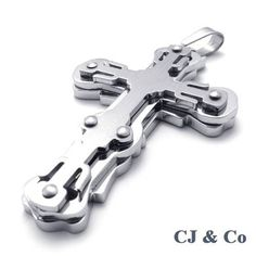 Silver 316L Stainless Steel Cross Men Pendant Necklace - $70nok