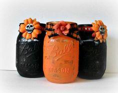Halloween Mason Jar Centerpiece Orange and Black Home Decor Rustic Painted Ball Jars Distressed Mason Jar Fall Spooky Fun Centerpiece