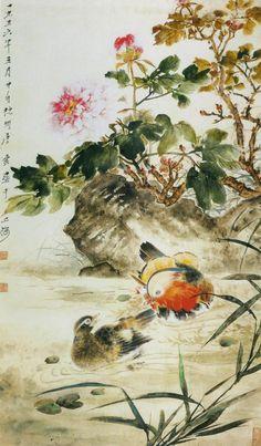 Tang Yun(唐云) .  牡丹鸳鸯 1956年 上海中国画院藏