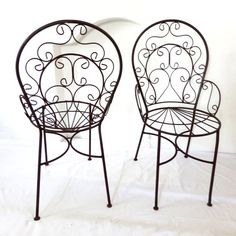 Set of Six Vintage Wrought Iron Garden Chairs