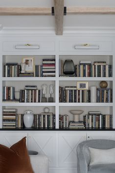 10 Tips for Shelf Styling with Lots of B. - 10 Tips for Shelf Styling with Lots of Books – Room for Tuesday - Muebles Home, Tall Shelves, Corner Shelves, Floating Shelves, Bookshelf Styling, Bookshelf Design, Curved Sofa, Decoration Inspiration, Formal Living Rooms