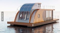 A home barge houses people right on the water, but it doesn't need to obey the construction and utility requirements applicable to floating homes. Pontoon Houseboat, Houseboat Living, Pontoon Boat, Boat Building, Building A House, Floating Architecture, Casas Containers, Water House, Floating House