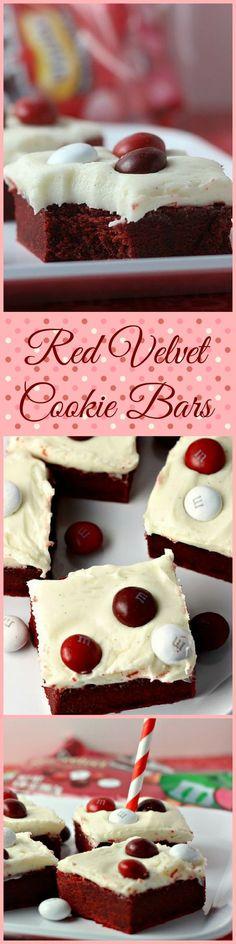 Red Velvet Cookie Bars with Cream Cheese Frosting | Renee's Kitchen Adventures: OMG...one great cookie bar! #RedVelvetLove #ad #cbias