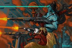 Shiva Squad(Shiva,Ganesha, Nandi fighting using modern warfare) Shiva Art, Shiva Shakti, Lord Mahadev, Lord Shiva Family, Modern Warfare, Hinduism, Ganesha, Psychedelic, Mythology