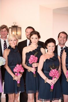 pink and navy wedding party!