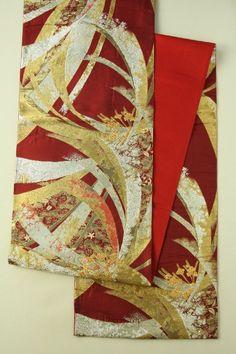 Agate Color Fukuro Obi (Rokutsu), Gold and Silver Flower Pattern / メノウ色地 金銀のモダンな熨斗と花柄 六通袋帯 #Kimono #Japan http://www.rakuten.co.jp/aiyama/