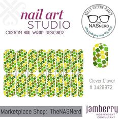 Click for the insta-link to The NAS Nerd's Marketplace Designer Studio! Express your style w/ custom nail wraps!  • Don't have a personal consultant of your own? New to the Jamberry Universe? Message me on my Facebook Fan Page w/ design requests or an invite to join my VIP customer group! www.facebook.com/KellyGBTheNASNerd/  • nail art cosplay diy manicure pedicure lacquer gel kgbnas clever clover st patricks day gold green olive Irish parade holiday festive heritage