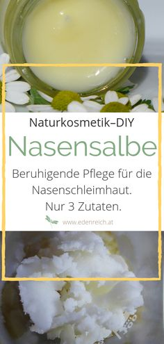 Nasensalbe selber machen Natural care for dry & irritated nasal mucosa. This simple nasal balm puts a soothing layer over the nasal mucosa and thus prevents it from drying out. Simple DIY recipe with only 3 ingredients. Diy Cosmetics Ingredients, The Body Shop, Beauty Secrets, Diy Beauty, Belleza Natural, Diy Makeup, Blue Makeup, Natural Cosmetics, Organic Beauty