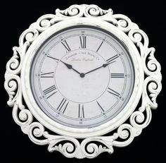 """Extra Large Baroque Wall Clock,  23"""" Wide, White Cottage Shabby Chic, French Ornate. $65.00, via Etsy."""