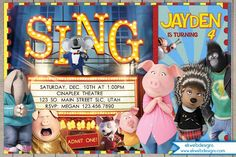 Sing Movie Birthday Invitation, Illumination Sing Birthday Invitations with or without a photo