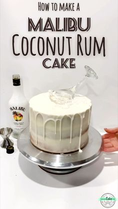 Make this easy AMAZING Malibu Rum Cake! Coconut-rum-drizzled cake layers as coconut frosting, topped with a white drip, a martini glass, and a sprinkle of shredded coconut! Cake Recipes From Scratch, Easy Cake Recipes, Dessert Recipes, Coconut Rum Cake Recipe From Scratch, Rum Cake Icing Recipe, Rum Recipes, Coconut Rum Drinks, Malibu Coconut, Malibu Rum Drinks