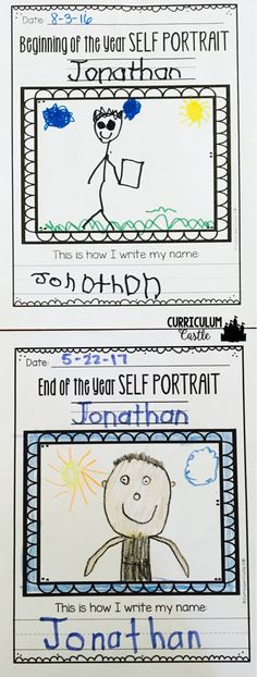 Teach Your Child to Read Name activities: beginning of the year and end of the year self portraits. Great way to see the growth in self-image and writing over the year! Give Your Child a Head Start, and.Pave the Way for a Bright, Successful Future. Beginning Of Kindergarten, Kindergarten Classroom, Kindergarten Activities, Classroom Activities, Preschool Activities, Kindergarten Self Portraits, Kindergarten Writing Activities, Preschool Assessment, Owl Classroom