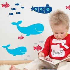 Removable decals for the walls the 'Whale of a Time' set makes a great addition to decorating the walls of any little boys room. #room #decorations