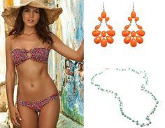 Accessorize your swimsuit. She needs the Orange Gem Chandelier Earrings http://www.ktcollection.com/item/PE163/orange-gem-chandelier-earrings/ and the Turquoise Bead Necklace http://www.ktcollection.com/item/PN052/adjustable-turquoise-bead-necklace/ as a belly chain or bracelet.