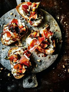 A date night tapas party pinterest tapas party friend recipe pan fried figs serrano ham cream cheese and walnuts on toast forumfinder Image collections