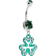 Green Gem Clear Paved Irish Clover Dangle Belly Ring   Body Candy Body Jewelry