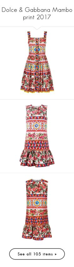 """""""Dolce & Gabbana Mambo print 2017"""" by sella103 ❤ liked on Polyvore featuring dresses, flare dresses, ruffle hem dress, cotton dresses, print dresses, flared hem dress, multicolour, summer evening dresses, peplum dress and peplum cocktail dress"""