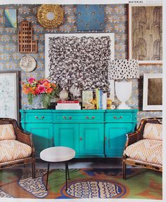 """Luxe Magazine, Fall 2013, """"Paper Route"""" Entryway by Joe Lucas, Wallpaper: Sharon Lee Studio Chrysanthemum in French Grey"""