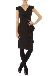 Black side ruffle dress