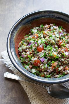 Red Quinoa Tabbouleh with a lemony dressing from Taste Love & Nourish quinoa tabbouleh, red quinoa