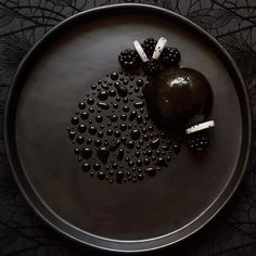 """: """"Evil Queen"""" - dark chocolate mousse blackberry jelly brownie dragon fruit and black glaze. Mirror mirror on the wall. who is the fairest of them all? This dish is delicated to the evil queen Ravenna aka the beautiful Charlize Theron Winter's War movie Black Dessert, Dark Chocolate Mousse, Chocolate Glaze, Chocolate Desserts, Black Food, Molecular Gastronomy, Culinary Arts, Plated Desserts, Food Design"""