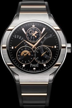Piaget Polo FortyFive watch. In titanium with rose gold features, and a rubber…