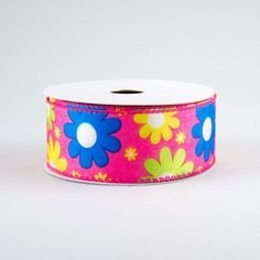 """1.5"""" Bright Flowers Ribbon: Fuchsia (10 Yards) Deco Mesh Ribbon, Wired Ribbon, Fabric Ribbon, Craft Outlet, Halloween Deco Mesh, Hippie Flowers, Wreath Supplies, Bright Flowers, Christmas Deco"""