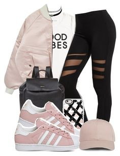"""""""Good Vibes"""" by hiphop4 ❤ liked on Polyvore featuring Tommy Hilfiger, Charlotte Russe, DKNY, Casetify and adidas"""