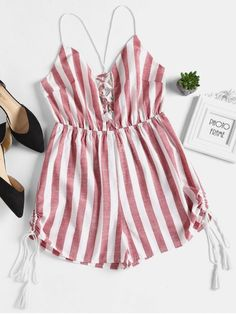 Striped Criss Cross Strappy Plunge Romper - Red L Swimwear Sale, Kids Swimwear, Tank Top Outfits, Cute Outfits, Girls Fashion Clothes, Girl Fashion, Red Romper, Cute Rompers, Two Piece Outfit