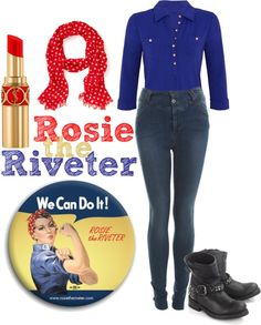 Halloween costume idea: Rosie the Riveter. Cute idea except this outfit doesn't look like her at all. Group Halloween, Holidays Halloween, Halloween 2018, Creative Halloween Costumes, Halloween Crafts, Halloween Stuff, Halloween Ideas, Rosie The Riverter, Rosie The Riveter Costume