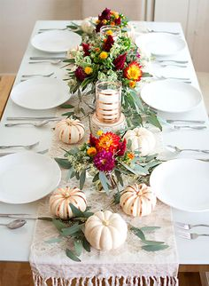 I like the white on white layering but especially the mini pumpkins with the copper accents!