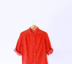 Bright Red Vintage Feather Blouse / Vintage Secretary Blouse / Red Button Up Shirt