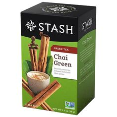 Chai Green lends a modern twist to the traditional chai by blending green tea with cinnamon, whole cloves, cardamom, ginger root and sarsaparilla. For traditional chai, brew with 7 ounces of water. Add 1 tablespoon of sugar and 1 ounce of milk. Vanilla Chai Tea, Tea Packaging, Design Packaging, Green Tea Bags, Chai Recipe, Green Tea Latte, Tea Brands, Tea Flavors, Herbalism