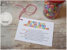 Postcard Din A glass with Smarties, plus this beautiful card together … - Abschiedsgeschenk School Gifts, Kids And Parenting, Teacher Gifts, Goodies, Card Making, Arts And Crafts, Presents, Place Card Holders, Birthday