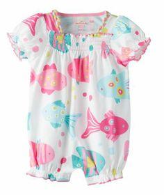 Baby Girl Happy Fishy Short Sleeve Romper | Hallmark Baby Clothes