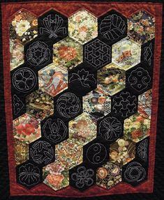 Quilt Inspiration: paper pieced and Sashiko. No tute, just lovely. Japanese Quilt Patterns, Japanese Fabric, Sashiko Embroidery, Japanese Embroidery, Small Quilts, Mini Quilts, Boro, Hexagon Patchwork, Hexagon Quilting