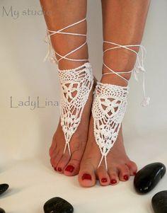 Crochet sandalias pies descalzos Victorian cordón por LadyAlinaShop