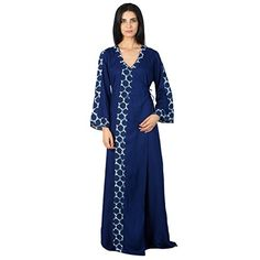 0d67ed2841 Patrorna Cotton Viscose Women s Angrakha Wrap Night Night Gown Dress in  Royal Blue(Size S-7XL