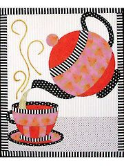 Applique Wall Quilt Patterns - Tea Set No-Sew Wall Hanging Sewing Appliques, Applique Patterns, Applique Quilts, Applique Designs, Quilt Patterns, Mini Quilts, Small Quilts, Quilting Projects, Quilting Designs