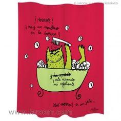 """Laroom - Cortina baño """"monstruo"""" roja polyester - Laroom diseña los productos para Baño más bonitos del mundo - www.laroom.com (producto diseñado y fabricado por Laroom con ilustración de anna llenas) Html, Anna, The World, Bathroom Window Curtains, Monsters, Red, Colors, Products, Book"""