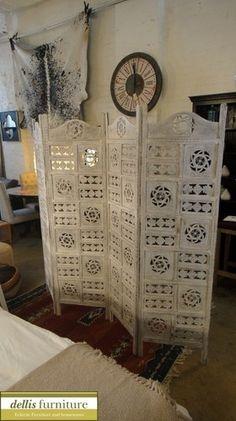 Amazoncom Kamal The Lotus Antique White 4 Panel Handcrafted Wood