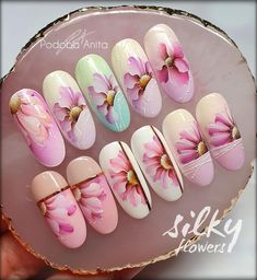 Bling Nails, 3d Nails, Acrylic Nails, Flower Nail Art, Nail Set, Summer Nails, Nail Art Designs, Pop Art, Salons